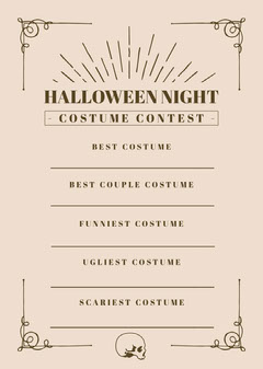 Halloween Night Party Costume Card Halloween Costume Contest