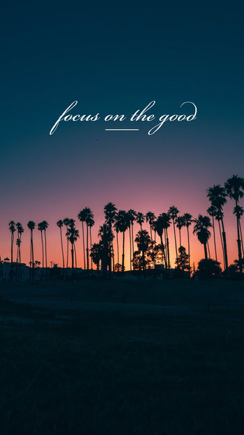 Palm Trees at Sunset Optimistic Phrase Smart Phone Wallpaper Planos de fundo para Zoom