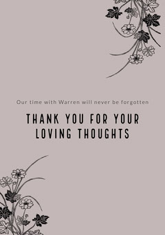 Violet and Black Thank You Card Funeral