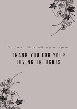 thank you for your loving thoughts Funeral Thank You Card