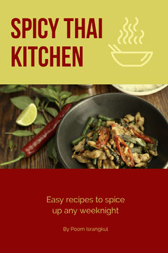 Green and Red Spicy Thai Kitchen Book Cover Cooking