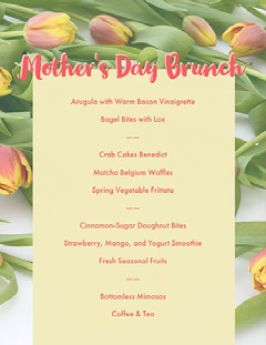 Pink, Yellow and Green Mothers Day Menu  Brunch