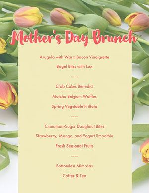 Pink, Yellow and Green Mothers Day Menu  Menú