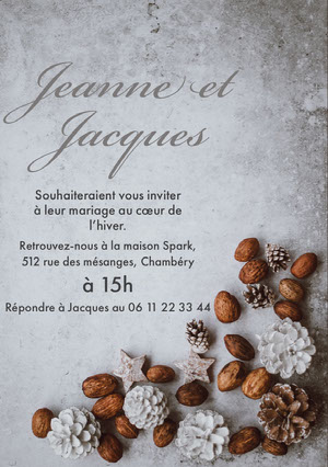 winter wedding invitations  Invitation de mariage