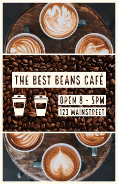 Brown Cafe Ad Flyer with Coffee Beans Coffee