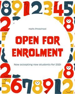 Colourful Enrolment Announcement Instagram Portrait Preschool Flyer