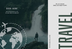 Green and Grey, Travel Agency Ad, Brochure Travel Agency