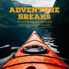 Orange Text with Kayak Image Adventure Breaks Instagram Square Water