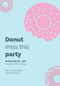 Pink and Blue Donut Party Invitiation Festinvitation