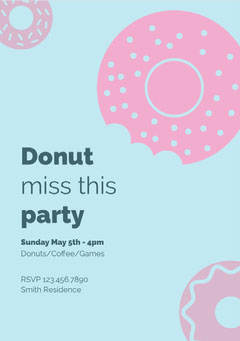 Pink and Blue Donut Party Invitiation Donut
