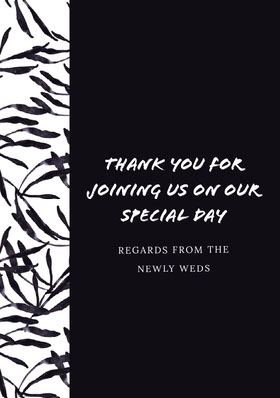 Black and White Wedding Thank You Card Thank You Card