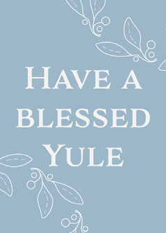 Blue & White Have A Blessed Yule Card Holiday