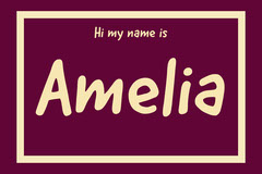Purple and Yellow Framed Name Tag Purple