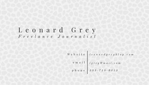 Black and White Elegant Minimal Journalist Business Card Carte de visite