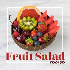 Red & Gray Fruit Salad Instagram Square Fruit
