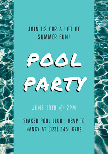 White and Blue Pool Party Invitation Invitation