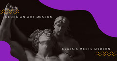 Purple Art Museum Facebook Post Graphic with Statues Art