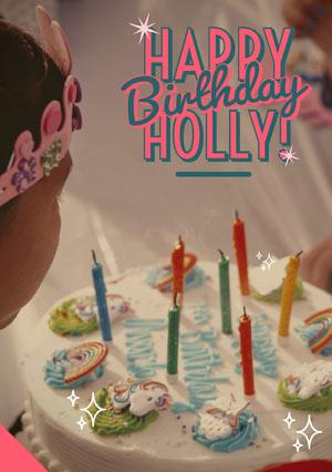 Happy Birthday Card with Child and Cake Photo Kids Birthday Card