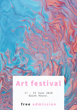 Blue and Pink Paint Art Festival Poster Kunstplakat