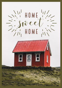 Red and White Sweet Home Card Sweet Home