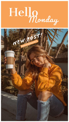 Orange Fashion Blog Post Instagram Story with Woman Blogger