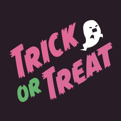 Pink Green and White Trick or Treat Halloween Instagram Square Typography