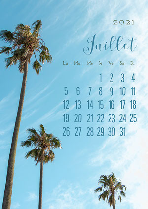 Blue Sky July Calendar Summer A4 Calendrier mensuel