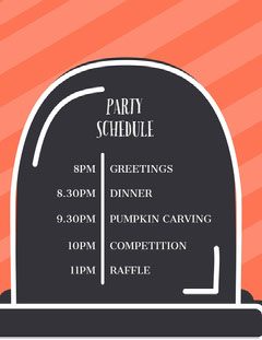 To Die For Halloween Party Schedule Halloween Party Schedule