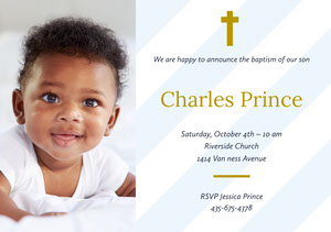 White and Gold Baptism Announcement and Invitation Card with Boy Baptism Invitation