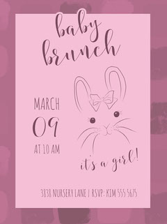Pink and Violet Baby Brunch Invitation Brunch