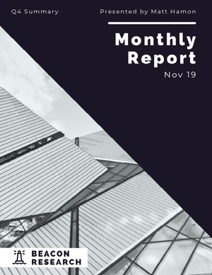 Black and White Modern Building Monthly Business Report Relatório