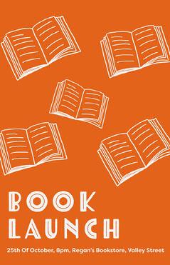 Orange & White Book Launch Poster  Launch