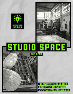 black white grey green neon studio space to rent letter For Rent Flyer