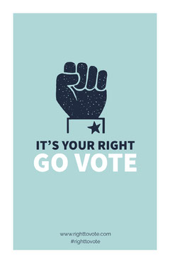 Light Blue Election Voting Campaign Poster with Fist Voting