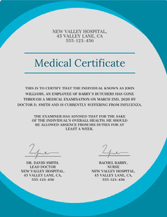 new valley medical certificate  Health Posters