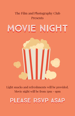 Orange and White Movie Night Flyer Night Club Flyer