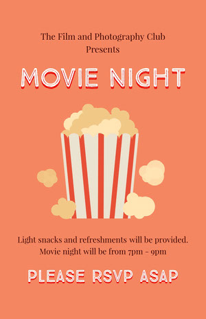 Orange and White Movie Night Flyer Filmposter