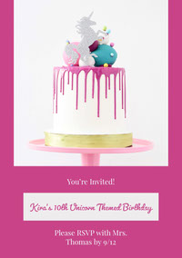 White and Pink Birthday Invitation d'anniversaire