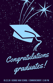Blue Outer Space Style Illustrated Graduation Poster with Mortarboard School Posters