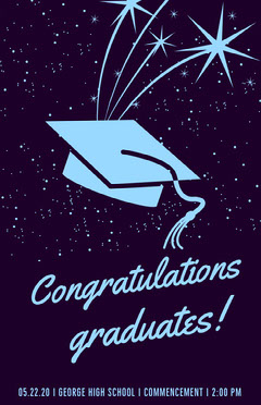 Blue Outer Space Style Illustrated Graduation Poster with Mortarboard Space