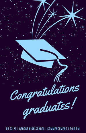 Blue Outer Space Style Illustrated Graduation Poster with Mortarboard Graduation Poster