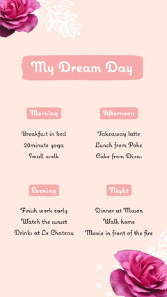 pink white dream day roses interactive instagram story  Movie Night Flyer