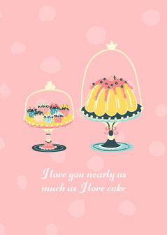 white pink cake I love you card  Love