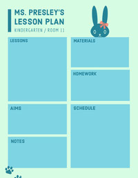 Blue Illustrated Kindergarten School Lesson Plan Crea il tuo calendario