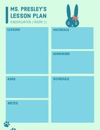 Blue Illustrated Kindergarten School Lesson Plan Créateur d'agend