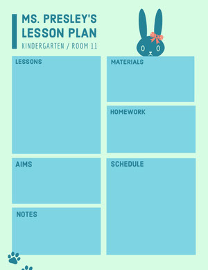 Blue Illustrated Kindergarten School Lesson Plan Unterrichtsplan
