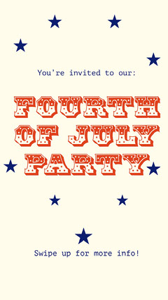 Red and Blue Stars Typography Fourth Of July Party Invitation Instagram Story  4th of July