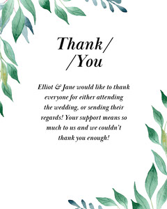 Leafy  Elliot Wedding Thank you Instagram Portrait Thank You Poster