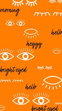 orange white black eyes hello iPhone wallpaper  Hello