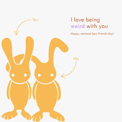 National Best Friends Day Instagram Square Graphic with Rabbits Friends